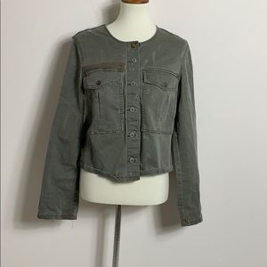 Free people distressed denim military jacket